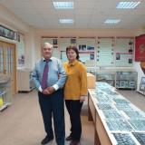 Выпускник 1968 года, Почетный строитель России В.В. Запасов и А. Запасова в музее колледжа.