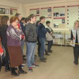 Учащиеся группы ДС-11 и классный руководитель Т.Г. Корнеенкова в музее колледжа.